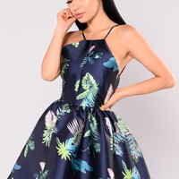 Sun Shower Tropical Print Dress - Navy Tropical