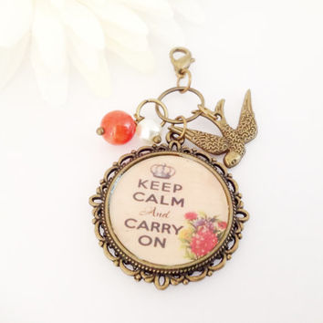Keep Calm And Carry On Midori Traveller Notebook Charm, Planner Charm