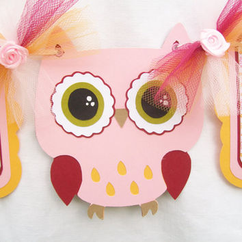 pink and orange owl baby showwer banner, its a girl - READY TO SHIP