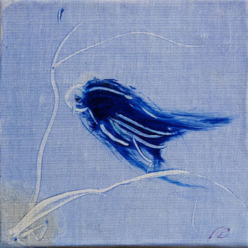 Little Bird on the Branch miniature oil painting on canvas framed and ready to hang great gift Christmas original art directly from atist