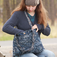 Crocheted Blue Jean Shoulder Bag, denim purse, upcycled blue jeans, blue jean purse, denim shoulder bag