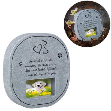 UEETEK Pet Memorial Stone with Photo Frame Paw Print Grave for Dogs Cats