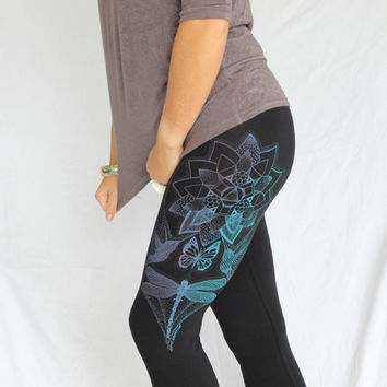 Magic Lotus Leggings - Dragonfly, Monarch Butterfly, Hummingbird leggings. Blue Purple screenprint on 4 colors. Yoga leggings. Activewear..