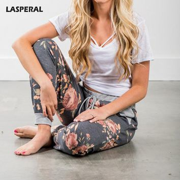 LASPERAL Sweatpant Women Casual Fashion Floral Printed patchwork Bottoms pantalon femme Elastic Waist Trousers Summer jogger