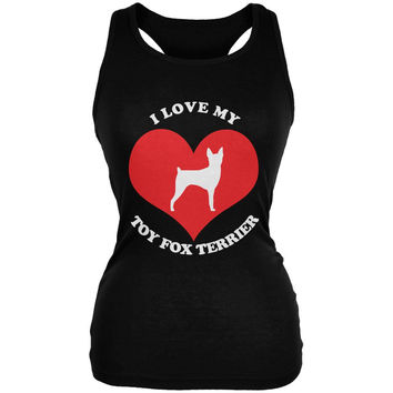 Valentines I Love My Toy Fox Terrier Black Juniors Soft Tank Top