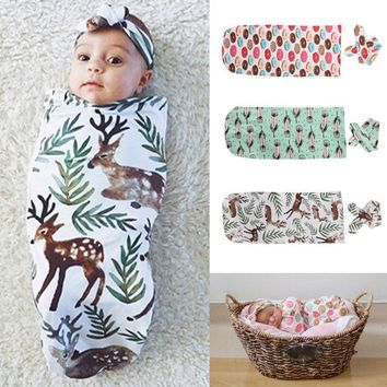 Newborn. Baby Boys & Girls Organic Cotton Blanket with matching Headband Sleeping Sleepsack Stroller Wrap Baby Boy Girl