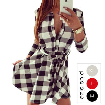 Autumn Vintage White Black Plaid Print Shirt Dress Women 2016 Sexy 3/4 Sleeve Winter Dresses Office Plus Size Work Wear 10635