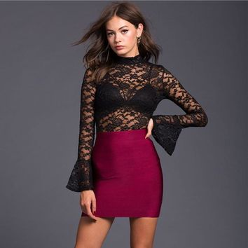 Fashion Women Perspective Lace Backless Long Sleeve Pagoda Sleeve T-shirt Bodysuit Romper Jumpsuit
