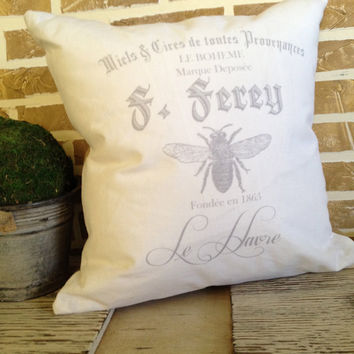 French Bee - White Linen with Gray Design Pillow - Insert Included
