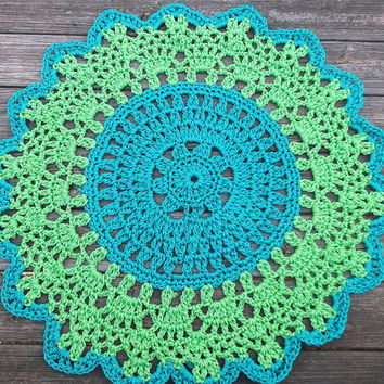 "Turquoise and Bright Green Patio Porch Cord Crochet Rug in 35"" Round Pineapple Pattern READY TO SHIP"