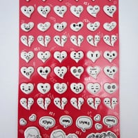 GLOW in the dark boy girl love heart emoticon faces 3D puffy stickers