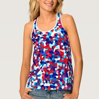 Multi-color mosaic pattern tank top