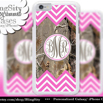 Hot Pink Camo Monogram iPhone 5C 6 6 Plus Case iPhone 5s 4 case Ipod 5 Touch case Real Tree Chevron Zig Zag  Personalized