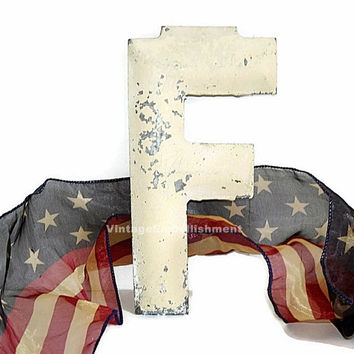Vintage Metal Letter F Antique Marquee F Metal Shop VintageEmbellishment