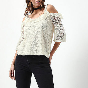 Cream lace frill cold shoulder top - bardot / cold shoulder tops - tops - women