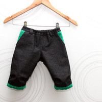Toddler boys shorts in black stretch denim with green/blue details Kids trousers // Size 80 - 116 (12m-6yrs)
