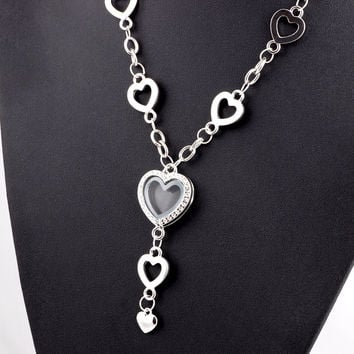 My Favorite Things Heart Shaped Charm Locket Necklace in Silver