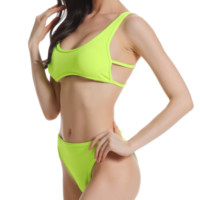 Explosion models women's solid color split swimsuit sexy high waist bikini