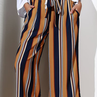 High-Waisted Striped Cropped Pants