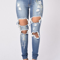 Splish Splash Jeans - White Paint Splash