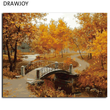 DRAWJOY Frameless Wall Art Pictures Painting By Numbers DIY Digital Oil Painting On Canvas Home Decor Autumn Maple G071 40*50cm