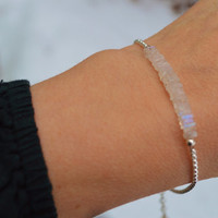 """READY to SHIP Sterling Silver Moonstone Bracelet with 1"""" extension with Moonstone accent 2-3 day USPS Priority Shipping"""