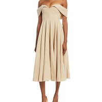 Co Off-the-Shoulder Bustier Cotton-Linen Tea-Length Cocktail Dress
