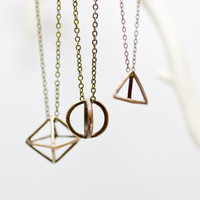 Geometric Brass Pendant Necklace