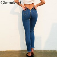 Glamaker High waist back zipper jeans pants Women blue casual streetwear skinny jeans Female slim bodycon winter jeans bottom