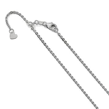 Leslie 14K White Gold 1.7 mm Flat Cable Adjustable Chain