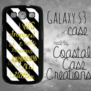 Black and White Striped with Gold Glitter Quote Samsung Galaxy S3 Hard Plastic or Rubber Cell Phone Case Cover Original Design