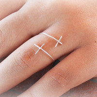 Silver Filled Double Cross Wire Wrapped Adjustable Ring