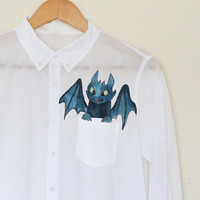 Toothless handpainted shirt how to train your dragon pocket summer shirt cute unique shirt dark blue dragon
