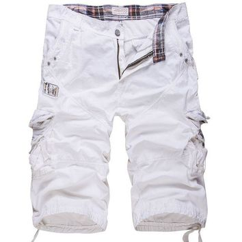 ONETOW New cotton men's casual shorts loose large size cargo shorts solid color patchwork military shorts white knee length cotton