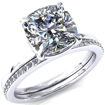 Cynthia Cushion Moissanite 4 Claw Prong Solitaire Ring
