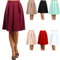Poly Pleat Midi Skirt