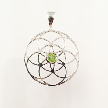 Sacred Geometry, Sterling Silver Seed of Life Pendant with Peridot Center Stone