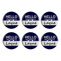 Layne Hello My Name Is Plastic Resin Button Set of 6