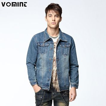 Vomint 2017 New Mens Denim Jacket Coat Single Breasted Loose Fit Light Blue Big Men Plus Size L 4XL 5XL 6XL 7XL V7S1C002