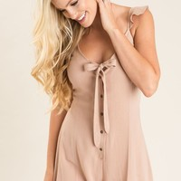 Riley Taupe Tie Front Romper