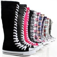 Canvas Sneakers Ladies Flat Tall Punk Womens Skate Shoes Lace Up Knee High Boots