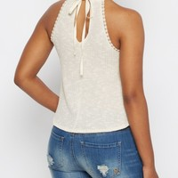 Ivory Ribbed High Neck Tank | Casual Tank Tops | rue21