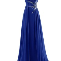 Dresstells® Sweetheart Beading Floor-length Chiffon Prom Dress Evening Gown Royal Blue Size 12