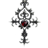 Red Heart Cross Necklace Dark Elegant Gothic Pendant