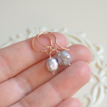 NEW Silver Pearl Earrings, Rose Gold Filled, Pink Gold, Drop Earrings, Rosebud, Grey Druzy Drusy Pearl Jewelry, Free Shipping