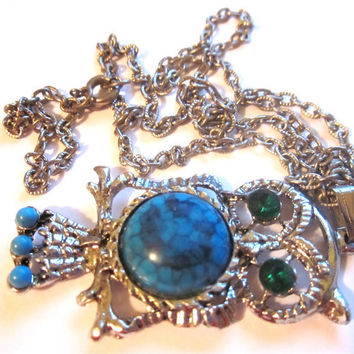 Vintage Owl Necklace Silver Turquoise Emerald jelly belly costume jewelry