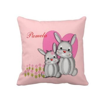 Cute Girly Pink Bunny Rabbits Personalized Name Throw Pillows from Zazzle.com