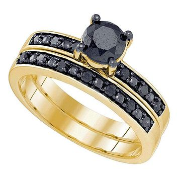 10kt Yellow Gold Women's Round Black Color Enhanced Diamond Bridal Wedding Engagement Ring Band Set 1.00 Cttw - FREE Shipping (US/CAN)