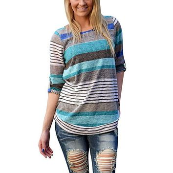 Fashion Women Loose Causal Long Sleeve Striped Shirts Crew Neck Tops Blouse Pullover Jumper 4558