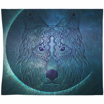 Wolf Moon Tapestry Blue Green Distressed Tapestry Wall Hanging Meditation Yoga Grunge Hippie